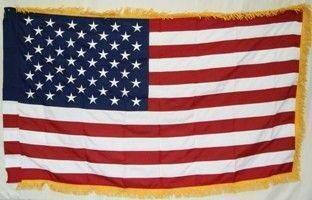 50 Star USA Flag – Nylon Embroidered Sleeve with Fringes 3 x 5 ft.
