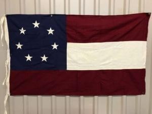 Antiqued Confederate First National 7-Star Cotton Flag 3′ x 5 with ties (Re-enactor Quality)