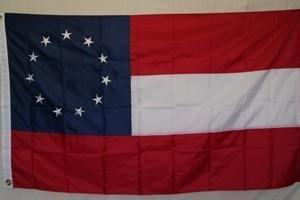 1st national Confederate Stars and Bars 11 Stars Cotton Flag 3 x 5 ft.