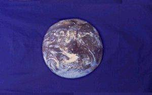 Earth Flag (Blue) NASA photo Flag 12 x 18 inch on Stick