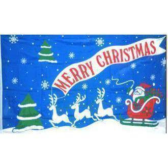 vendor-unknown Flag Merry Christmas Santa Claus With Sleigh Flag 3 X 5 ft. Standard