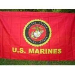 USMC Marines Emblem & Words Flag 3 X 5 ft. Standard