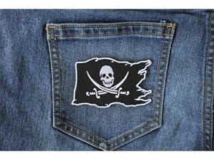 Buccaneer – Jolly Roger – Pirate Skull on a Flag  Patch – 2.5 x 3.5 inch