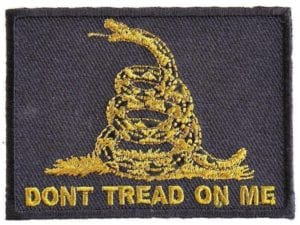 Gadsden Don't Tread On Me Green on Black 2″ x 3″ Iron On Patch