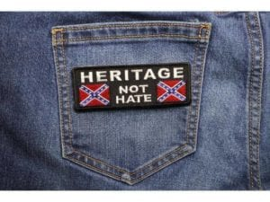 Heritage not Hate – Rebel Flag Patch – Confederate Battle Flag – Patch – 1.5 x 4 inch