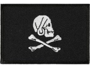 Pirate Skull and Cross Bones Jolly Roger Flag  Patch – 2 x 3 inch