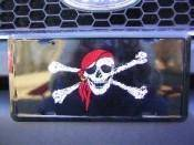 Jolly Roger Pirate Red Hat License Plate