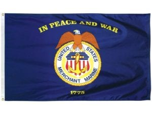 Merchant Marine 2 x 3 ft Nylon Dyed Flag (USA Made)